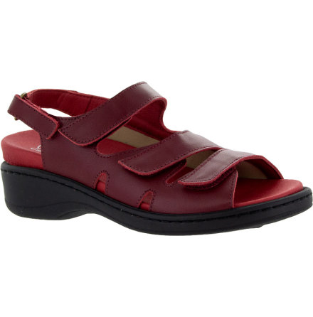 Anette mörkröd sandal med hälrem och stort stretchparti