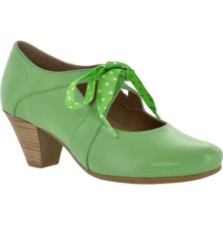 Daisy pastellgrön pumps i skinn med prickigt ripsband