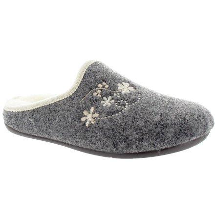 Clarissa grå ulltoffel med broderade blommor