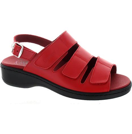 Annelie röd sandal med hälrem, on-steam